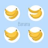Εικονίδιο μπανανών επίσης corel σύρετε το διάνυσμα απεικόνισης απομονωμένος Συλλογή των εικονιδίων μπανανών στο μπλε υπόβαθρο Απλ Στοκ φωτογραφία με δικαίωμα ελεύθερης χρήσης
