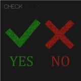 Εικονίδιο ναι και αριθ. πράσινο σημάδι ελέγχου και κόκκινος λανθασμένος, σταυρός κροτώνων σημαδιών απεικόνιση αποθεμάτων