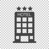 Εικονίδιο ξενοδοχείων στο απομονωμένο υπόβαθρο Απλό επίπεδο εικονόγραμμα για το λεωφορείο ελεύθερη απεικόνιση δικαιώματος
