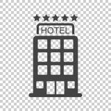 Εικονίδιο ξενοδοχείων στο απομονωμένο υπόβαθρο Απλό επίπεδο εικονόγραμμα για το λεωφορείο διανυσματική απεικόνιση