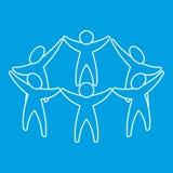 Εικονίδιο ομάδας ή φίλων, ύφος περιλήψεων Στοκ Εικόνες