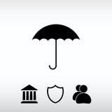 Εικονίδιο ομπρελών, διανυσματική απεικόνιση Επίπεδο ύφος σχεδίου Στοκ Εικόνες