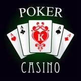 Εικονίδιο παιχνιδιών πόκερ με τέσσερις άσσους και κάρτες βασιλιάδων Στοκ Φωτογραφίες