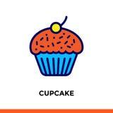 Εικονίδιο περιλήψεων CUPCAKE Διανυσματικό εικονόγραμμα κατάλληλο για την τυπωμένη ύλη, τον ιστοχώρο και την παρουσίαση Στοκ εικόνα με δικαίωμα ελεύθερης χρήσης