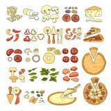 Εικονίδιο πιτσών Σύνολο εικονιδίων συστατικών πιτσών επίσης corel σύρετε το διάνυσμα απεικόνισης Στοκ Φωτογραφία