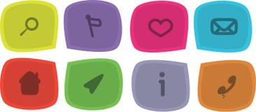 Εικονίδιο που τίθεται διανυσματικό με τα σύμβολα Ελεύθερη απεικόνιση δικαιώματος
