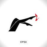 Εικονίδιο ποδιών γυναικών με το κόκκινο παπούτσι Στοκ Εικόνα