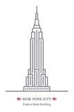 Εικονίδιο πόλεων της Νέας Υόρκης με τη σημαία Εmpire State Building και των ΗΠΑ Στοκ Φωτογραφίες