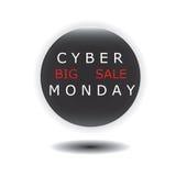 Εικονίδιο πώλησης Δευτέρας Cyber γύρω από το γυαλί που απομονώνεται στο άσπρο διάνυσμα υποβάθρου Στοκ φωτογραφία με δικαίωμα ελεύθερης χρήσης