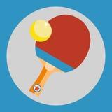Εικονίδιο ρακετών αντισφαίρισης Κόκκινη ρακέτα αντισφαίρισης σε ένα μπλε υπόβαθρο αθλητικό ύδωρ σκι απεικόνισης εξοπλισμού χρωματ απεικόνιση αποθεμάτων