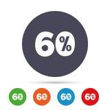 εικονίδιο σημαδιών έκπτωσης 60 τοις εκατό Σύμβολο πώλησης Απεικόνιση αποθεμάτων