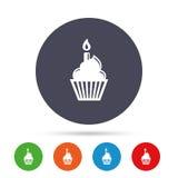 Εικονίδιο σημαδιών κέικ γενεθλίων Καίγοντας σύμβολο κεριών διανυσματική απεικόνιση