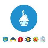 Εικονίδιο σημαδιών κέικ γενεθλίων Καίγοντας σύμβολο κεριών απεικόνιση αποθεμάτων