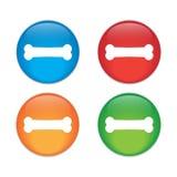 Εικονίδιο σημαδιών κόκκαλων σκυλιών Σύμβολο τροφίμων κατοικίδιων ζώων Κουμπί γυαλιού απεικόνιση αποθεμάτων
