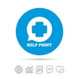 Εικονίδιο σημαδιών σημείου βοήθειας Ιατρικό διαγώνιο σύμβολο Στοκ φωτογραφία με δικαίωμα ελεύθερης χρήσης