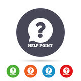 Εικονίδιο σημαδιών σημείου βοήθειας Σύμβολο ερώτησης Στοκ Εικόνες