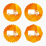 Εικονίδιο σημαδιών φορτηγών παράδοσης Φορτίο van symbol Στοκ Εικόνα