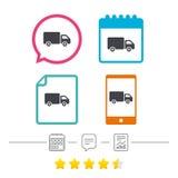 Εικονίδιο σημαδιών φορτηγών παράδοσης Φορτίο van symbol Στοκ Εικόνες