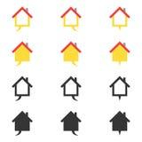 Εικονίδιο σπιτιών λεκτικών φυσαλίδων και σύνολο στοιχείων λογότυπων Στοκ Φωτογραφίες