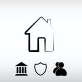 Εικονίδιο σπιτιών, διανυσματική απεικόνιση Επίπεδο ύφος σχεδίου Στοκ φωτογραφίες με δικαίωμα ελεύθερης χρήσης