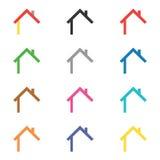 Εικονίδιο σπιτιών και σύνολο στοιχείων λογότυπων Στοκ Εικόνες