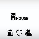 Εικονίδιο σπιτιών Κείμενο δείγμα, διανυσματική απεικόνιση Επίπεδο ύφος σχεδίου Στοκ εικόνες με δικαίωμα ελεύθερης χρήσης