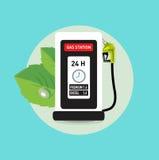 Εικονίδιο σταθμών αντλιών αερίου με την πράσινη πράσινη ενεργειακή έννοια φύλλων Στοκ Εικόνες