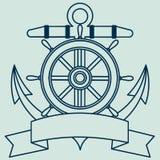 Εικονίδιο στο θέμα θάλασσας Lifebuoy, άγκυρα, τιμόνι, κορδέλλα Wriggling για την επιγραφή Στοκ Εικόνα