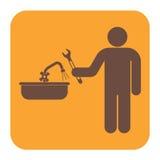 Εικονίδιο συμβόλων εργασίας υδραυλικών Στοκ Φωτογραφία