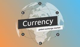 Εικονίδιο σφαιρών και χρημάτων Επίπεδο σχέδιο ανταλλαγής νομίσματος σημαδιών Διανυσματική απεικόνιση