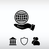Εικονίδιο σφαιρών με το χέρι, διανυσματική απεικόνιση Επίπεδο ύφος σχεδίου Στοκ φωτογραφία με δικαίωμα ελεύθερης χρήσης