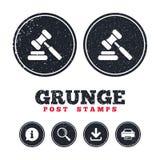 Εικονίδιο σφυριών δημοπρασίας Gavel δικαστών νόμου σύμβολο Στοκ φωτογραφία με δικαίωμα ελεύθερης χρήσης