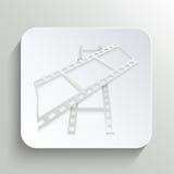 Εικονίδιο της ταινίας στο κουμπί με τη σκιά απεικόνιση αποθεμάτων