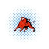Εικονίδιο του Bull στο ύφος comics Στοκ Εικόνες