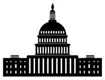 Εικονίδιο του capitol που χτίζει το αμερικανικό συνέδριο της Ουάσιγκτον DC απεικόνιση αποθεμάτων