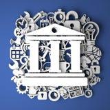 Εικονίδιο τράπεζας στη χειροποίητη διακόσμηση του εγγράφου Στοκ εικόνα με δικαίωμα ελεύθερης χρήσης