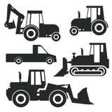 Εικονίδιο τρακτέρ ή σύνολο σημαδιών απεικόνιση αποθεμάτων