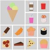 Εικονίδιο τροφίμων και ποτών Διάνυσμα γρήγορου φαγητού Επίπεδα εικονίδια χρώματος σφαίρες του εικονιδίου παγωτού Στοκ Φωτογραφία