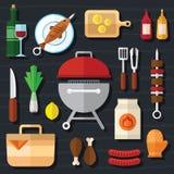 Εικονίδιο τροφίμων πικ-νίκ και σχαρών που τίθεται σε ένα επίπεδο σχέδιο Στοκ Εικόνες