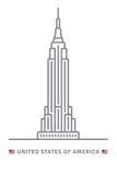 Εικονίδιο των Ηνωμένων Πολιτειών της Αμερικής με το Εmpire State Building και τις ΗΠΑ Στοκ φωτογραφίες με δικαίωμα ελεύθερης χρήσης