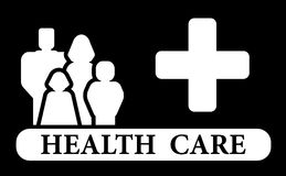 Εικονίδιο υγειονομικής περίθαλψης με την οικογένεια και τον ιατρικό σταυρό ελεύθερη απεικόνιση δικαιώματος