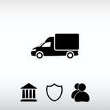 Εικονίδιο φορτηγών, διανυσματική απεικόνιση Επίπεδο ύφος σχεδίου Στοκ Εικόνα