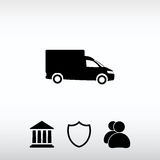 Εικονίδιο φορτηγών, διανυσματική απεικόνιση Επίπεδο ύφος σχεδίου Στοκ φωτογραφία με δικαίωμα ελεύθερης χρήσης