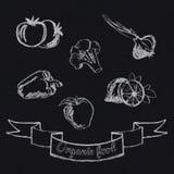 Εικονίδιο φρούτων και λαχανικών κιμωλίας Απεικόνιση αποθεμάτων