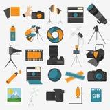 Εικονίδιο φωτογραφίας που τίθεται με τη φωτογραφία, εξοπλισμός καμερών Χρώμα επίπεδο διανυσματική απεικόνιση