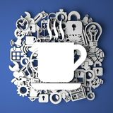 Εικονίδιο φλιτζανιών του καφέ στη χειροποίητη διακόσμηση εγγράφου Στοκ φωτογραφία με δικαίωμα ελεύθερης χρήσης
