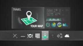 Εικονίδιο χαρτών γύρου για το περιεχόμενο ταξιδιού Εφαρμογή ψηφιακής επίδειξης ελεύθερη απεικόνιση δικαιώματος