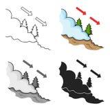 Εικονίδιο χιονοστιβάδων στο ύφος κινούμενων σχεδίων που απομονώνεται στο άσπρο υπόβαθρο Διανυσματική απεικόνιση αποθεμάτων συμβόλ απεικόνιση αποθεμάτων