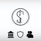 Εικονίδιο χρημάτων, διανυσματική απεικόνιση Επίπεδο ύφος σχεδίου Στοκ Εικόνες