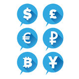 Εικονίδιο χρημάτων - μπλε σημαδιών νομισμάτων Στοκ Εικόνα